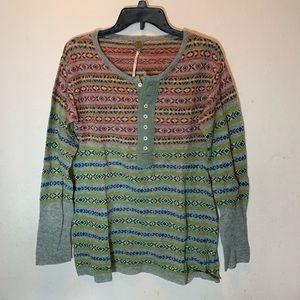Free People Nordic Wool Blend Henley Sweater